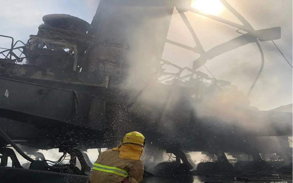 الموانئ الكويتية تسيطر على حريق محدود في رافعة متحركة بمیناء الشعیبة